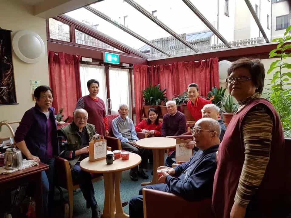 Volunteers distributed foods to the old folks in local retirement centre, Edinburgh